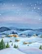 Snowy winter landscape. Watercolor illustration.