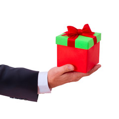 businessman holding  red gift box
