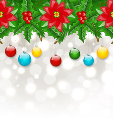 Christmas background with balls, holly berry, pine and poinsetti