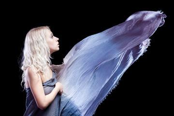 Young woman, transparent wet cloth