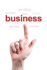 Finger clicks business word online