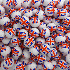 English football balls (many). 3D render background