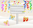 wooden banner and christmas gifts