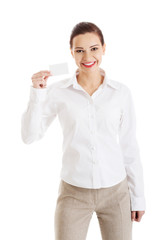 Picture of woman with business card