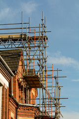 Scaffolding outside house