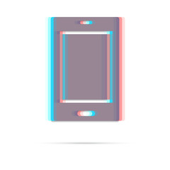 Tablet anagliph icon with shadow