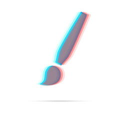Paint brush anagliph icon with shadow