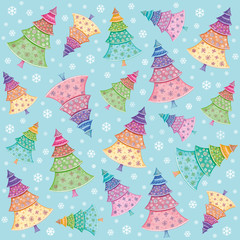 Pattern with Christmas trees and snowflakes
