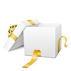 Geschenkpaket, Weiß, goldene Schleife, Paket, Geschenk, Present