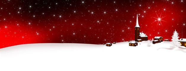 Weihnachtskarte, Winterlandschaft, Winter, Dorf, Hügel, Rot, BG