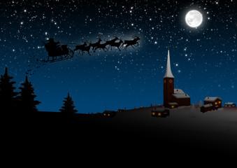 Weihnachtskarte, Bescherung, Abends, Sternenhimmel, Weihnachten