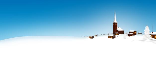 Weihnachtskarte, Winterlandschaft, Bergdorf, zugeschneit, Winter