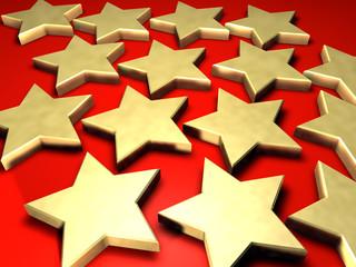 3d illustrated golden stars