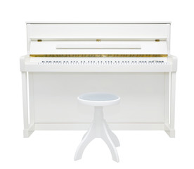 white piano with the lid open