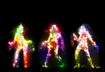 Dancing girls silhouettes, neon lights