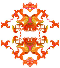 Abstract ornamental pattern with exotic flowers
