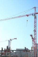 Grues sur un chantier
