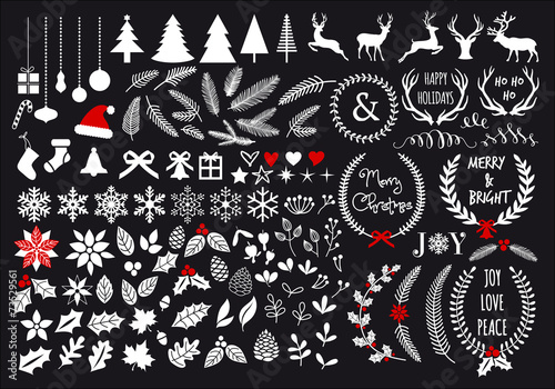 White Christmas set, vector design elements poster