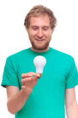 Bearded man holding an idea light bulb