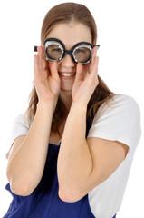 Handwerker in Blaumann mit Schutzbrille