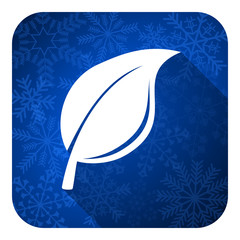 nature flat icon, christmas button, leaf sign