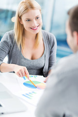 Financial adviser with a client