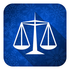 justice flat icon, christmas button, law sign