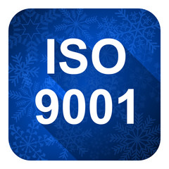 iso 9001 flat icon, christmas button