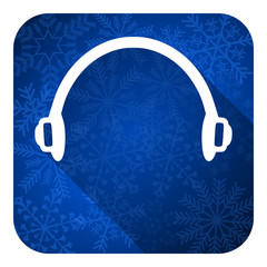 headphones flat icon, christmas button