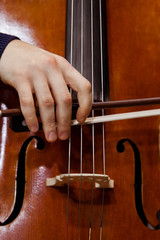 Detail of the cello in the hands of a musician