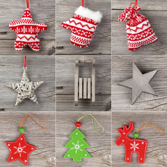 Christmas decoration set, on wooden background