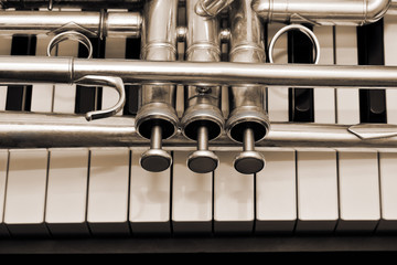 Detail of trumpet lying on the piano keys