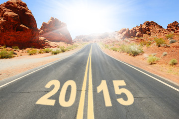 New Year written on the road