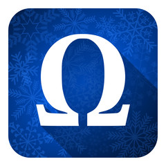 omega flat icon, christmas button
