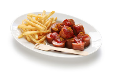 currywurst, curry sausage, german food on white background