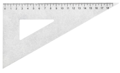 metal set square (triangle) isolated on white