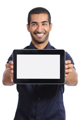 Arab man showing an app in a  blank horizontal tablet screen