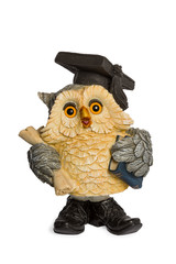 Statuette beige owl symbol of knowledge