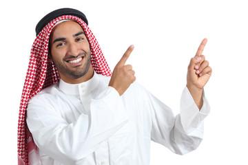 Arab saudi presenter man presenting pointing at side