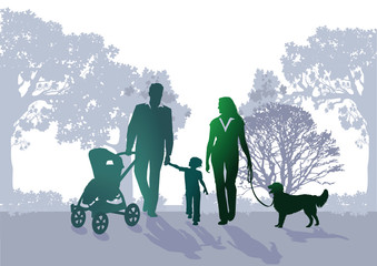 Familen Spaziergang im Park
