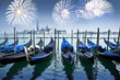 Gondolas and fireworks , Venice by night, Italy - 73532707
