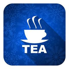 tea flat icon, christmas button, hot cup of tea sign