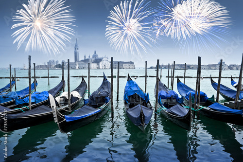 Aluminium Venetie Gondolas and fireworks , Venice by night, Italy