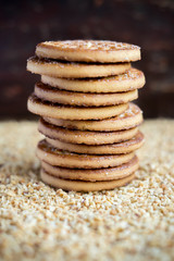 Stack of sugar cookies for Christmas