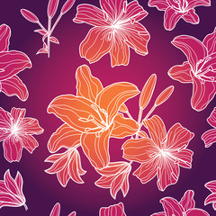 Floral seamless pattern with lilies