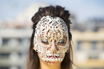 beautiful woman with skull mask