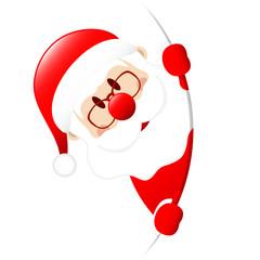 Santa Behind Round Banner