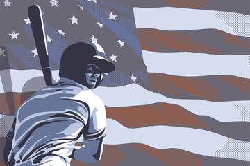 Baseball player hitting and American flag