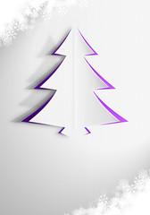 Kartka świąteczna z choinkami w odcieniach fioletu