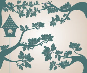 silhouettes of trees and bird house